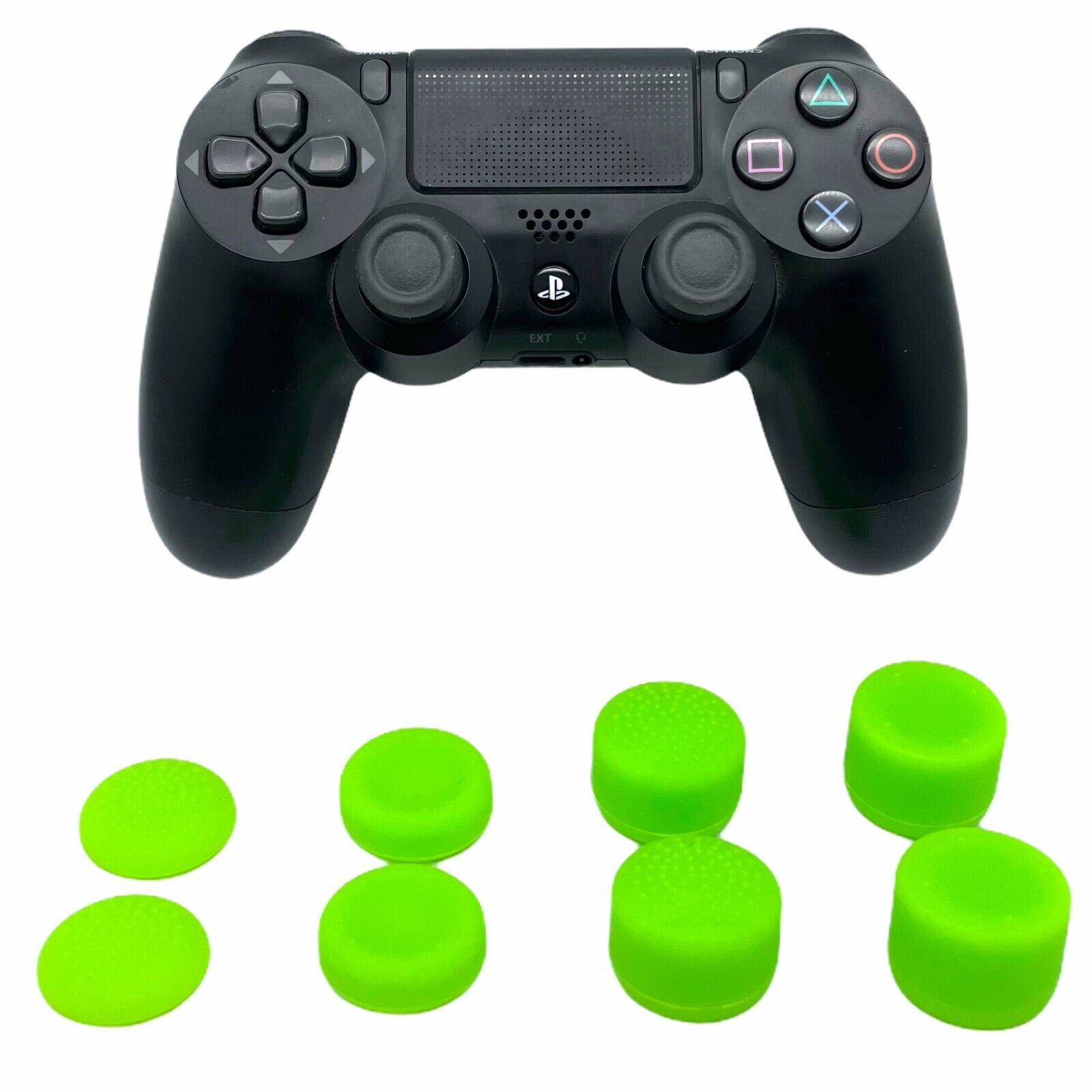 (GREEN) 8 PACK ThumbStick Cover Joystick Grip Caps Extenders For PS4 Controller