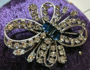 HSB-Harry-Bick-Signed-Sterling-Silver-Crystal-Navy-Rhinestones-Bow-Pin-Brooch-2-034