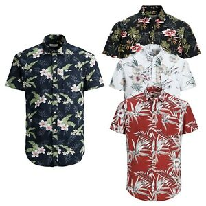 Jack-amp-Jones-De-Hombre-Con-Estampado-Floral-De-Playa-De-Verano-Manga-Corta-Slim-Fit-Camisas