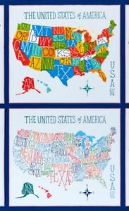 Us Map Fabric Panel UNITED STATES MAP fabric panel COLORFUL MAPS FABRICS US MAP BTP
