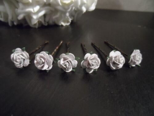 6 x ROSE HAIR GRIPS BRIDE BRIDESMAID FLOWERGIRL HAIR WEDDING FLOWERS