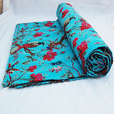 Twin Birds Printed Turquoise Indian Hand Kantha Stitching Bedspread Twin Quilts