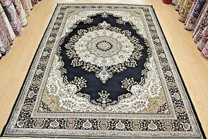 Traditional-Design-Rug-Black-Silk-Like-Machine-Washable-Living-Room-Carpet-Rug