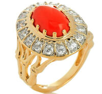 Xavier Absolute Simulated Coral & Clear Crystal Bamboo Vermeil Silver Ring