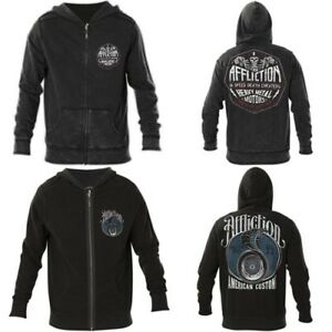 AFFLICTION-Mens-Hoodie-Sweat-Shirt-ZIP-UP-Jacket-REVERSIBLE-High-Speed-98