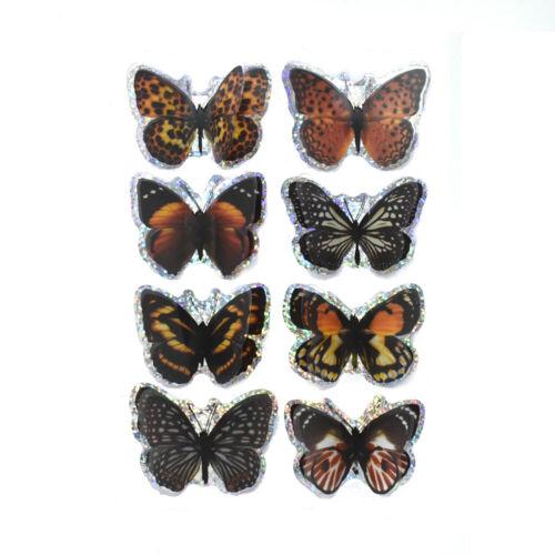 Monarch pop-up de papel de aluminio Mariposas Pegatinas 3D 8 piezas