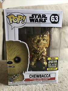 Funko-POP-Star-Wars-CHEWBACCA-Gold-Chrome-63-GALACTIC-CON-Free-PoP-Protector