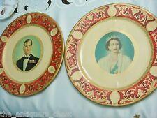 """Queens Elizabeth II and Duke of Edinburg pair tin plates memorabilia, 10""""[4-2"""