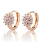 Flower Engagement Jewelry 18k Gold Filled Sapphire Crystal Hoop Huggie Earrings