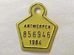 Vintage Belgian Bicycle License Plate 1984.