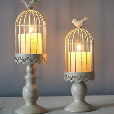 Retro Bird Cage Hollow Candle Holder Candlestick Lantern Wedding Party Decor