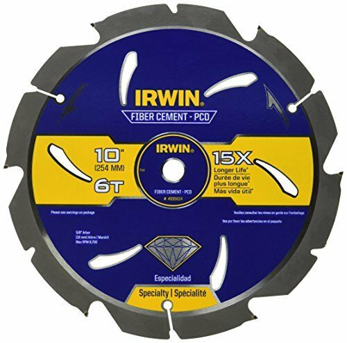 6T IRWIN Tools Fiber Cement PCD Circular Saw Blade 10-Inch 4935624