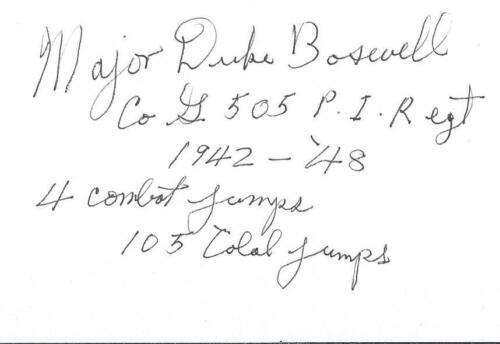 "Henry /""Duke/"" Boswell autograph-signed 82nd Airborne WW II Europe RARE COA LOOK!"