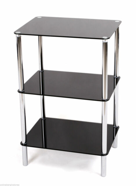 3TIER GLASS SHELF UNIT BLACK GLASS CHROME FRAME SIDE/END TABLE HOME DISPLAY