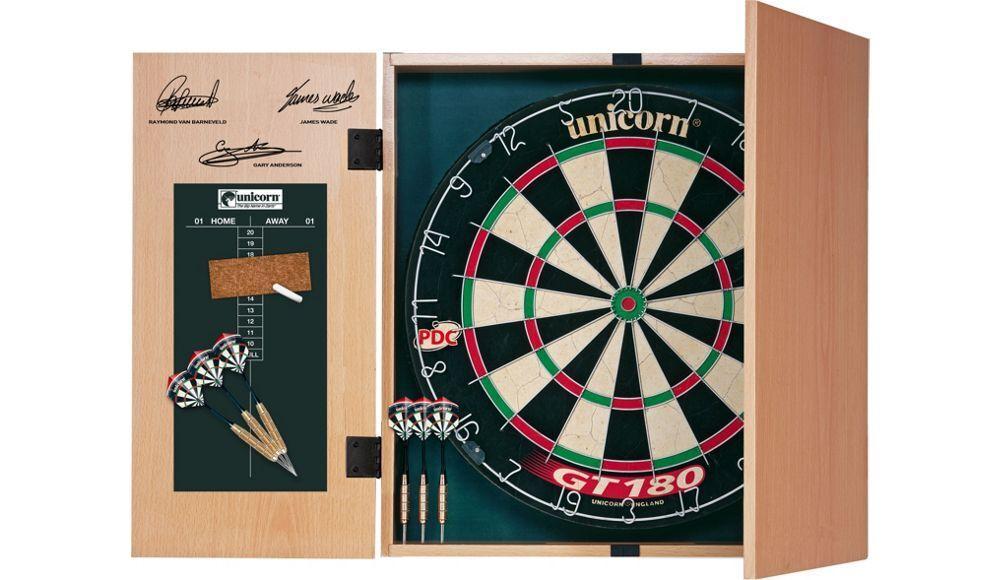 Unicorn Original Professional Dartboard with Score Panel Cabinet & 2 Set Darts