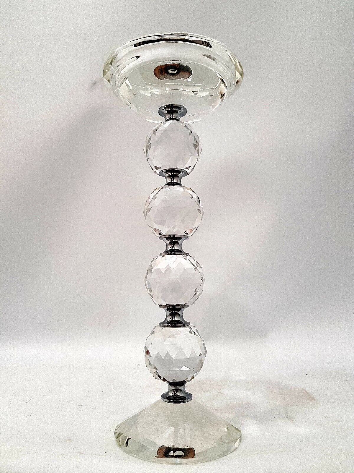 Crystal Glass and Chrome Pillar Candle Holder 25cm