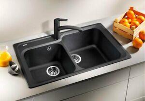 Dettagli su Lavello Cucina 2 Vasche BLANCO Incasso 86 cm Base 80 cm Avana  1217075 Nova 8