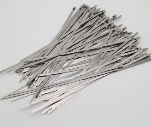"""Stainless Steel 10/"""" 100Pcs Chrome Header Wrap Straps Self Locking Cable Zip Ties"""