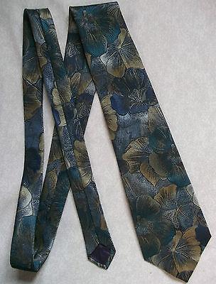 Luminosa Vintage Cravatta Dunn & Co Argento Da Uomo Cravatta Retro Blu Oro Astratto Floreale-mostra Il Titolo Originale
