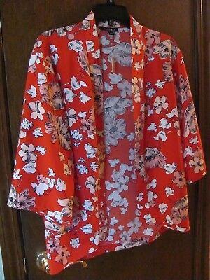 NWT WOMENS SMALL ROZ & ALI DRESS BARN RED FLORAL 34 SLEEVE BLAZER SHAWL JACKET   eBay
