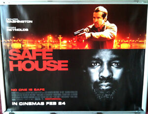 Cinema Poster Safe House 2012 Quad Denzel Washington Ryan Reynolds Ebay