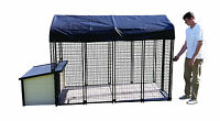 K9 Condo Cabin Dog House + Kennel-Run + Raised Flooring Combination package