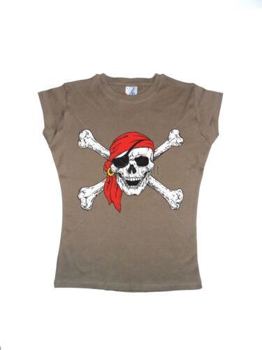Frauen T Shirt im Cappucionoton Greaser Rockebilly/&Tattoomotiv Modell Pirat