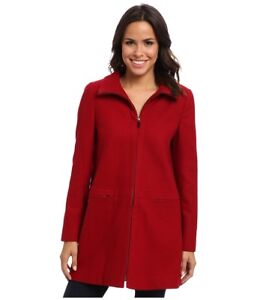 Details About New Larry Levine Red Wool Stand Up Collar Winter Jacket Coat 8