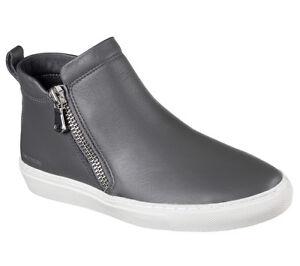 New-Womens-Skechers-Vaso-Bota-Leather-Sneaker-Bootie-Style-48869-Gray-W126