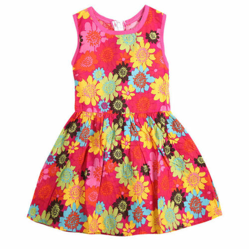 Toddler Kids Girls Summer Princess Floral Lace Pierced Party Dress Age 2-7 Years