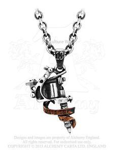 Alchemy tattoo gun pendantnecklace ulp9 jewelleryinkedchain la imagen se est cargando alquimia arma del tatuaje pendant necklace ulp9 jewellery aloadofball Gallery