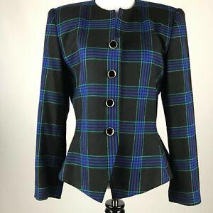 Stirling Cooper Women Black Green blue Plaid Button Long Sleeve Blazer sz 6