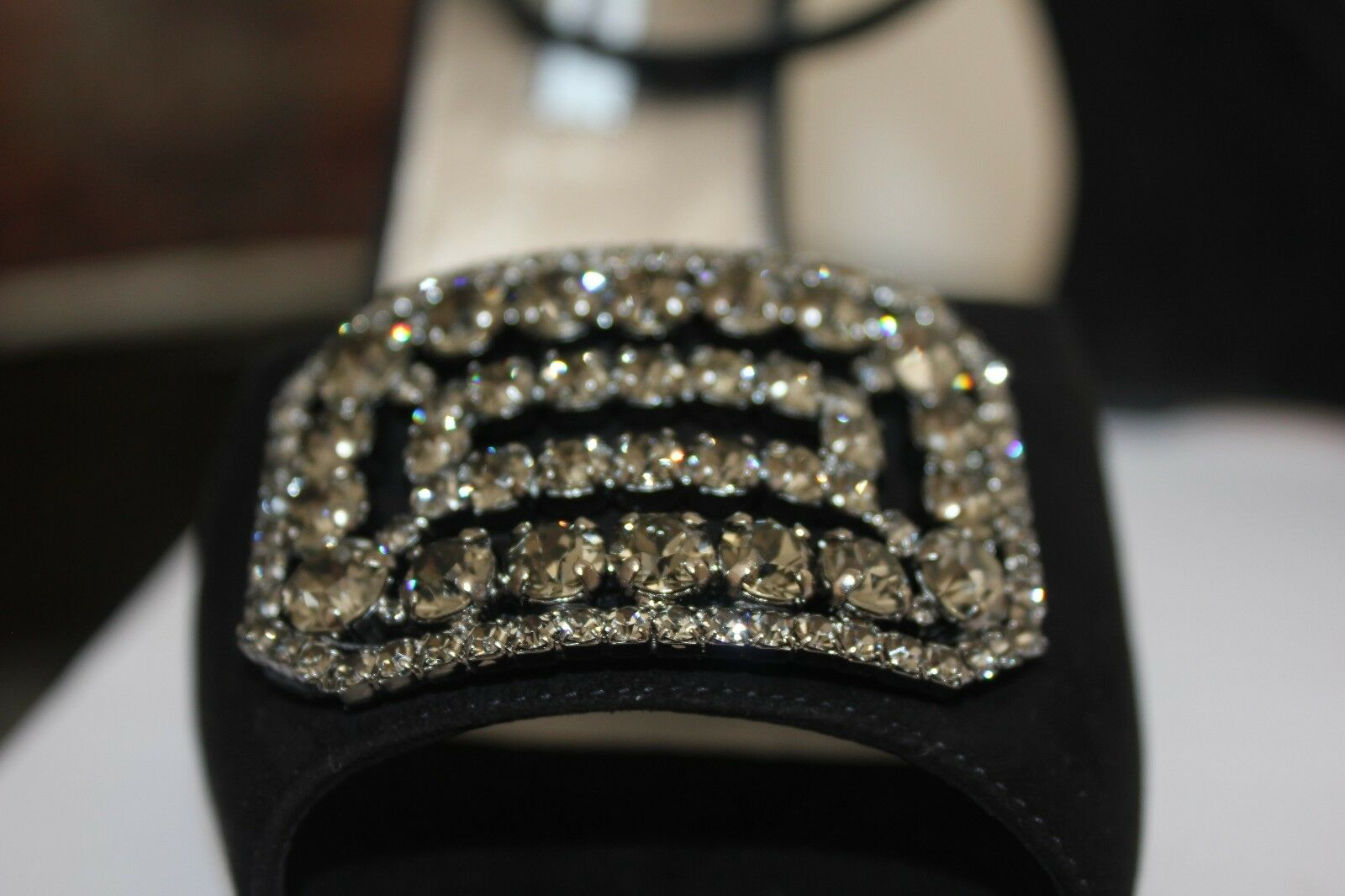 Manolo Blahnik Trice Trice Trice Wedge Black Suede Ankle Strap shoes Swarovski Buckle 41.5 71970c
