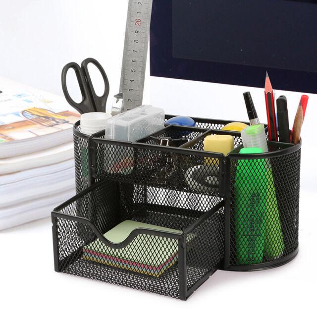 Set Of 5 Metal Mesh Office Desk Accessories Organizer Pencil Cup Card Holder Bk