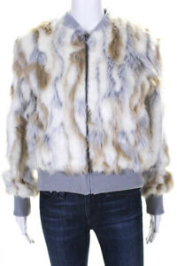 Cupcakes-and-Cashmere-Womens-Sia-Faux-Fur-Bomber-Jacket-Oatmeal-Grey-Size-Small