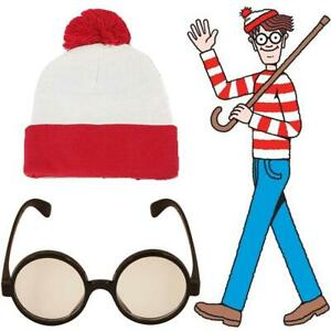 Red-White-Wally-Wenda-Book-Week-Day-Hat-Glasses-Fancy-Dress-Outfit-Accessory-Set