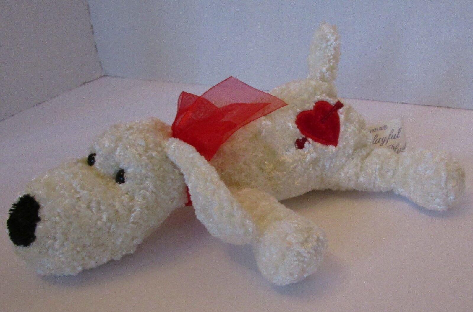 1988 Chrisha Playful Plush White Dog Floppy Beanbag Plush Valentine Heart 8