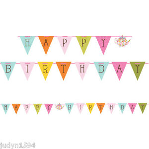 TEA TIME RIBBON BANNER HAPPY BIRTHDAY PARTY DECORATIONS TEAPOT