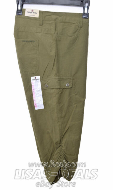 NEW WOMENS WOOLRICH CAPRIS HIKING CAPRI CYPRESS GREEN SIZE 6 CINCHED