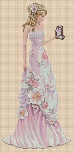Cross stitch chart femme élégante 156dd pleine longueur Flowerpower 37-uk