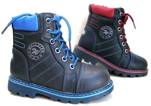 NEW BOYS FAUX LEATHER MILITARY BOOTS BLACK FUR WARM ZIP LACE SCHOOL WINTER SHOES