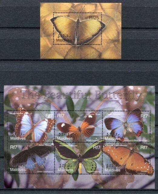 MALEDIVEN MALDIVE 2002 Schmetterling Butterfly Papillon 3987-3992 + Block 524 **