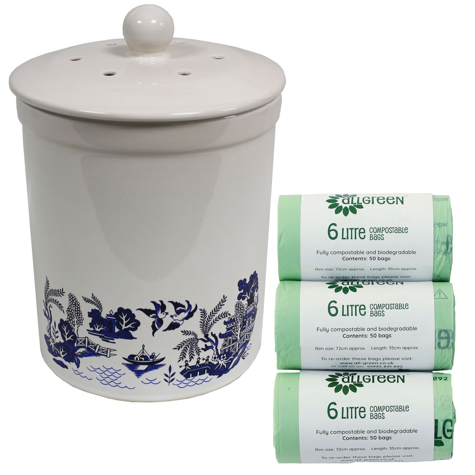 3L Ashmore Blau-Willow Ceramic Compost Food Caddy & 150 x 6L Compostable Bags