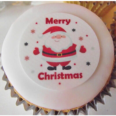 Christmas Cupcake Toppers - Santa Cake Decorations -  Icing or Wafer - 4cm x 24