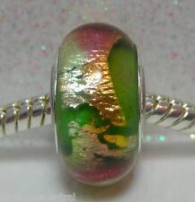 'LIME FANDANGO' Green w/Pink/Bronze/Silver Foil Murano Glass European Bead