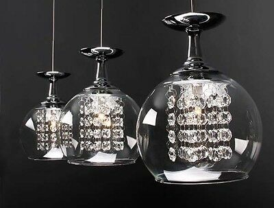 Modern Clear Crystal Lights Wineglass Wine Glass Bar Ceiling Light Pendant Lamp