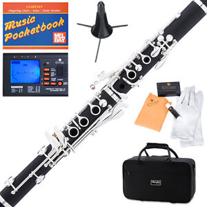 Mendini-Ebony-Wood-Body-Bb-Clarinet-Silver-Keys-Tuner-Stand-11Reeds-Case-MCT-40