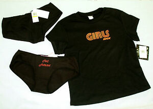 new-lot-Sleep-Tee-Shirt-Panties-sz-L-Softwear-GIRLS-ROCK-Low-Rise-Black-LG