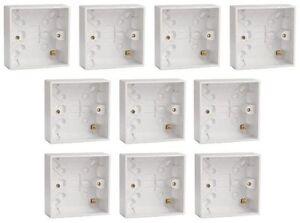 10 X Plastique Blanc Simple Surface Pattress Back Box 25 Mm De Profondeur Pour Interrupteur/prise-afficher Le Titre D'origine