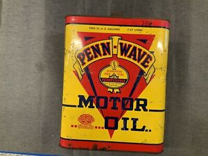 Original PENN WAVE Motor Oil 2 Gallon Can Great Graphics & Color